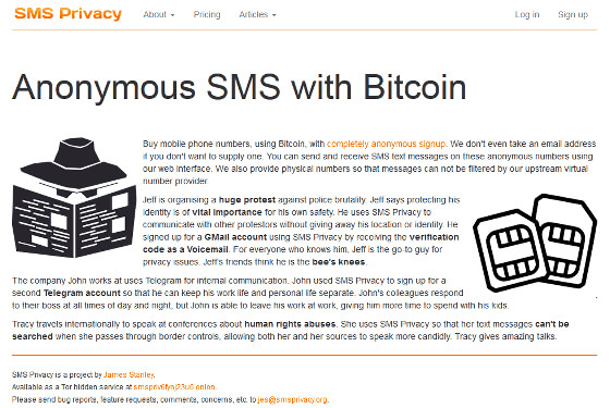 Anonymous Bitcoin phone numbers - SMS Privacy