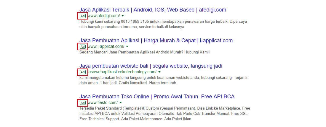 Iklan ditampilkan di hasil pencarian