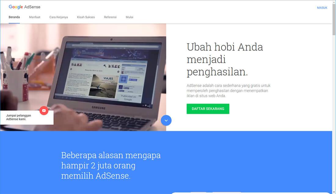 Pertama-tama, kita beranjak ke homepage Google Adsense.