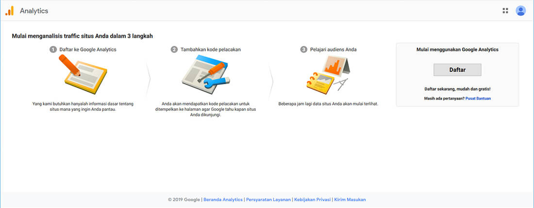 Registrasi Google Analytics ID.