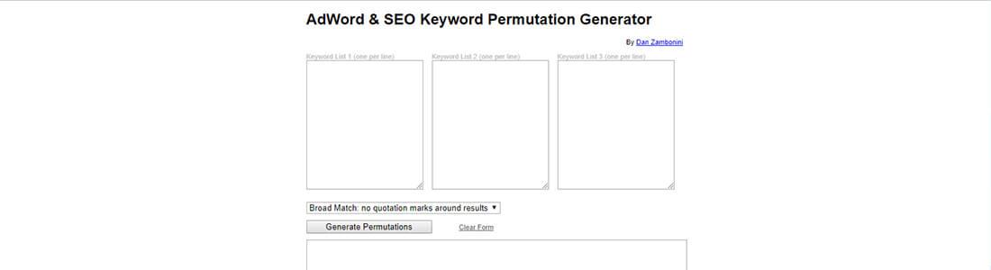 AdWord & SEO Keyword Permutation Generator