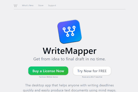 WriteMapper — Get from idea to final draft in no time using mind maps on your computer.