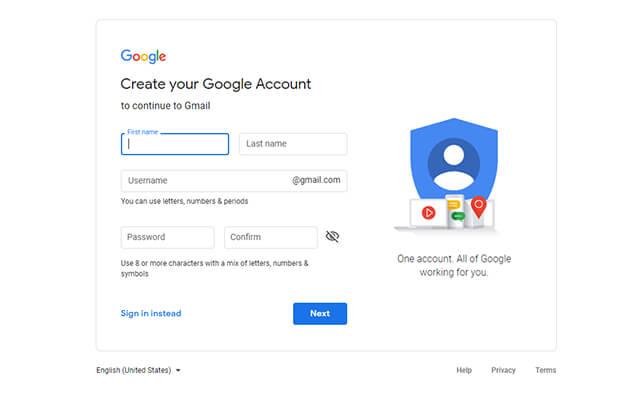 """Jika Anda belum memiliki akun Google, mulailah untuk membuat satu akun . Anda dapat mendaftar dengan """"Buat akun"""" dari halaman Gmail."""